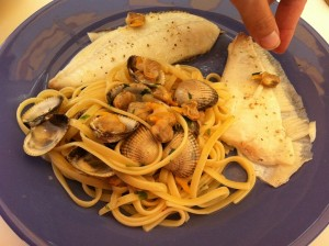 Barbue &amp; linguine alle vonghole